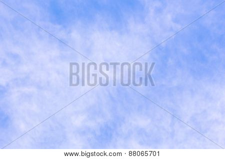 Translucent Cloudiness On Blue Sky Background