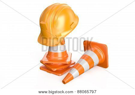 Traffic Cones And Hardhat