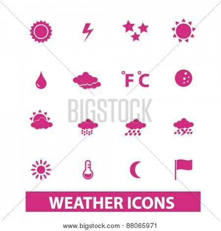 weather, climate, temperature isolated icons, signs, symbols, illustrations web design template concept set on white background for website, application
