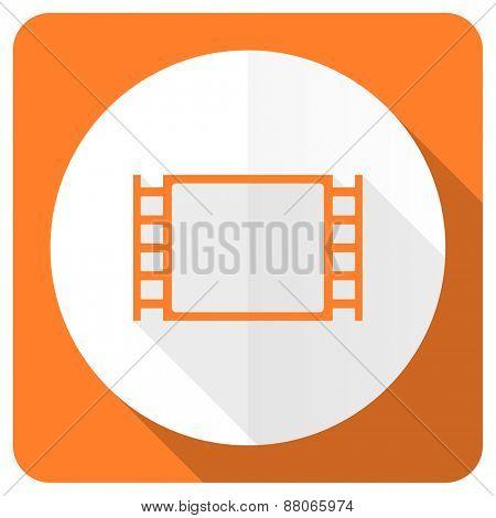 movie orange flat icon