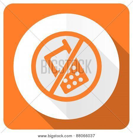 no phone orange flat icon no calls sign