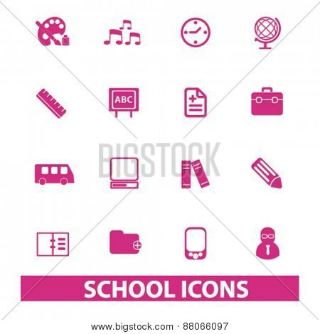 school, education, study isolated icons, signs, symbols, illustrations web design template concept set on white background for website, application