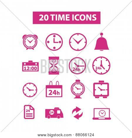 time, clock, delivery, 24h, hour isolated icons, signs, symbols, illustrations web design template concept set on white background for website, application
