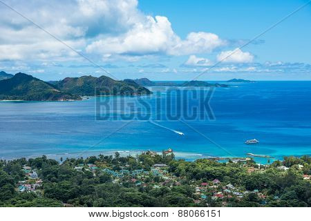 Panorama Of La Digue Island From Nid D'aigle Viewpoint, Seychelles
