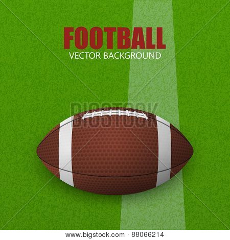 Football On A Green Field. Vector Illustration.