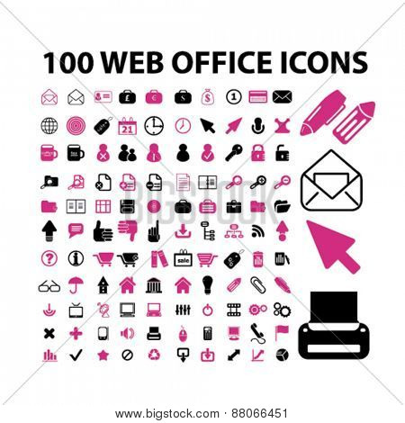 100 web office, document, work, workplace isolated icons, signs, symbols, illustrations web design template concept set on white background for website, application