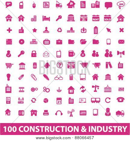 100 construction, industry, factory, engineering isolated icons, signs, symbols, illustrations web design template concept set on white background for website, application