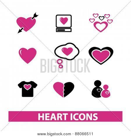heart icons set, vector