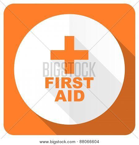 first aid orange flat icon