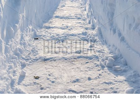 Cleared Pass In Deep Snow