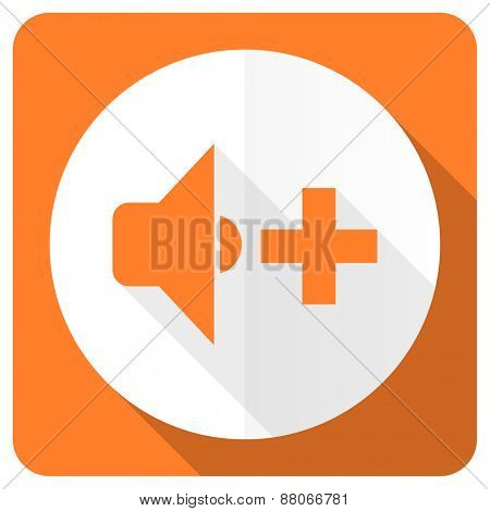 speaker volume orange flat icon music sign