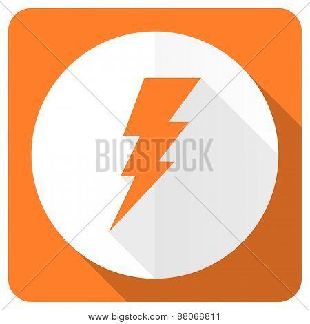 bolt orange flat icon flash sign