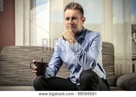 Businessman drinking a tea