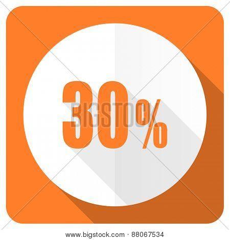 30 percent orange flat icon sale sign