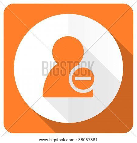 remove contact orange flat icon