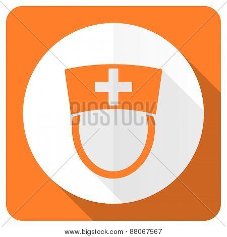 nurse orange flat icon hospital sign