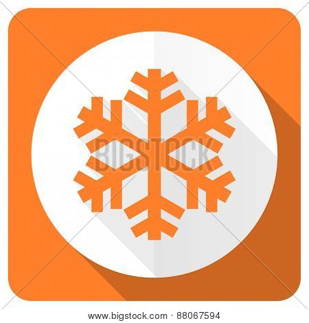 snow orange flat icon air conditioning sign