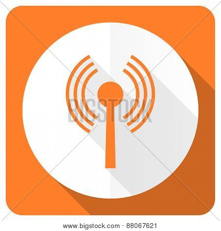 wifi orange flat icon wireless network sign