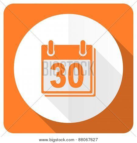 calendar orange flat icon organizer sign