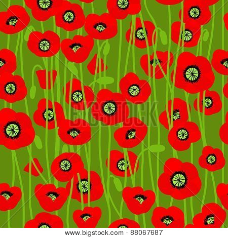 Poppy on green background. Natural seamless pattern.