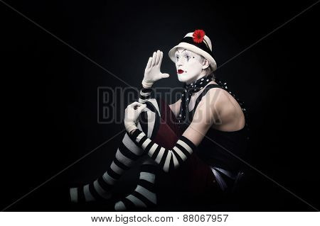 Funny Mime On Black Background