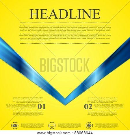Abstract contrast yellow blue tech background. Vector arrow design