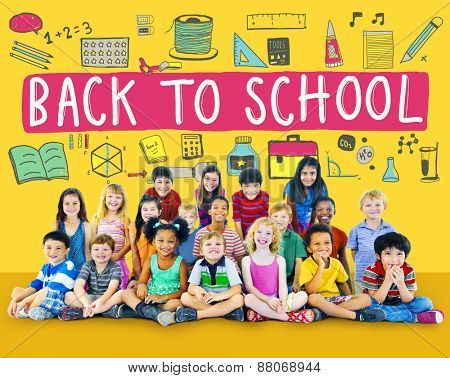 Children Cheerful Education Studying Knowledge Concept