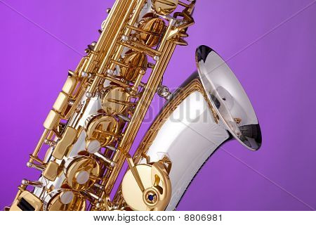 Saxophone Isolated On Pink