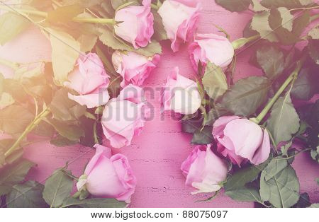 Happy Mothers Day Pink Roses And Tea.