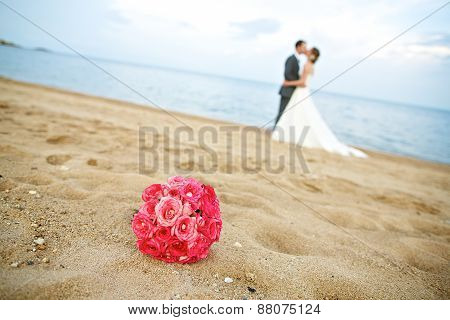 Wedding couple in a memorable time on the beachound