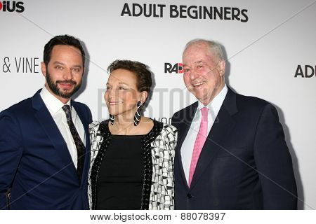 LOS ANGELES - FEB 15:  Nick Kroll, Lynn Korda Kroll, Jules B. Kroll at the