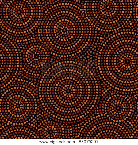 Australian aboriginal geometric art concentric circles seamless pattern in orange brown and black, v