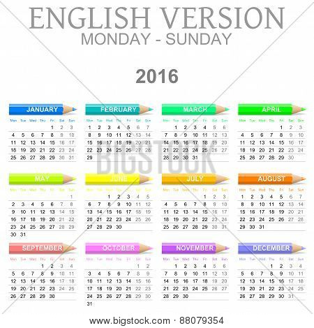 2016 Crayons Calendar English Version