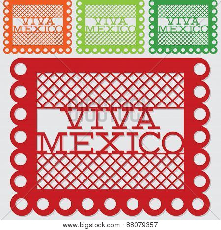 Mexican 'papel Picado' (paper Flag Decoration) Set In Vector Format.