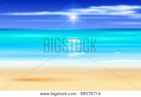 Sea, beach, sky. Vector illustration