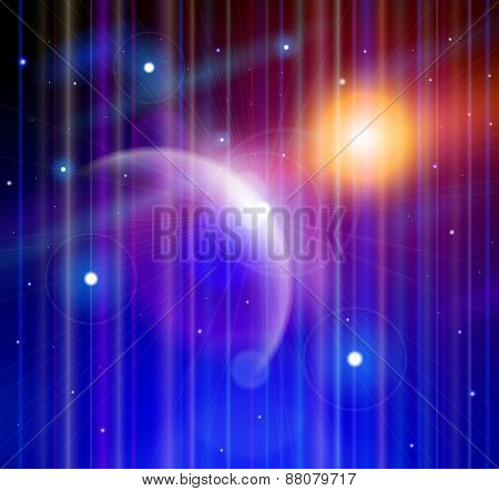 Magic Space - blue planet, stars and constellations, nebulae and galaxies, lights. Vector illustration / Eps10