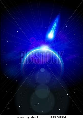 Magic Space - blue planet and flying comet, stars and constellations. Vector illustration / Eps10