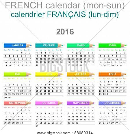 2016 Crayons Calendar French Version