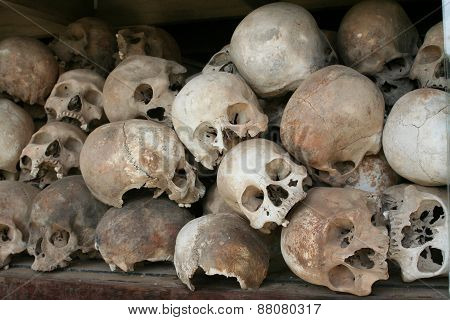 Skulls Of Khmer Rouge Victims At Killing Fields Memorial, Cambodia