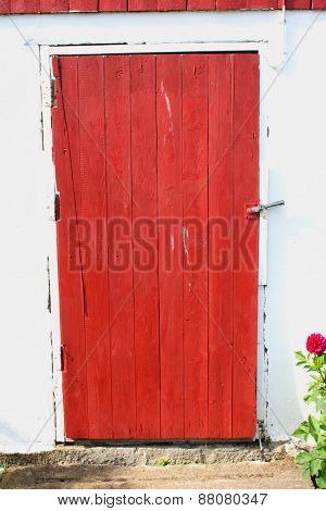 Red Barn Door On Farm At Frosta, Norway