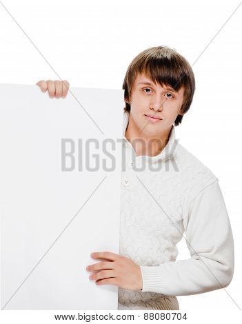 young man with blank billboard