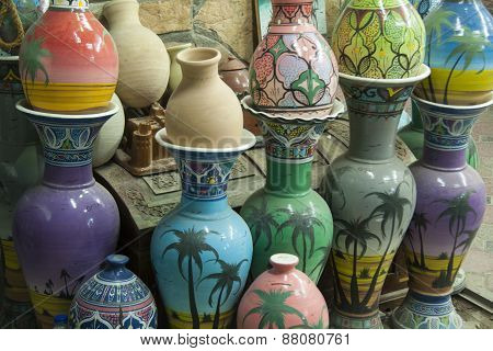 Rows of Pottery in Nizwa, Oman