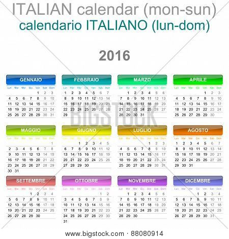 2016 Calendar Italian Language Version Mon – Sun