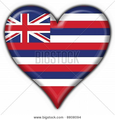 Hawaii (usa State) Button Flag Heart Shape