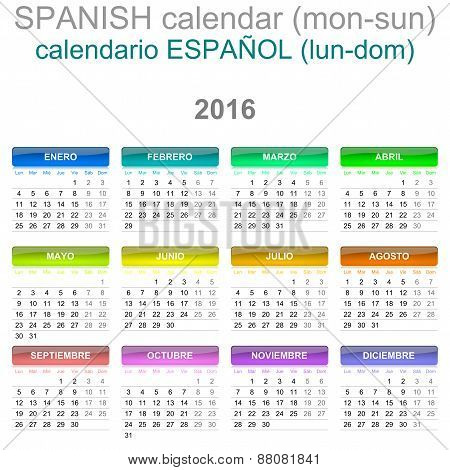 2016 Calendar Spanish Language Version Mon - Sun