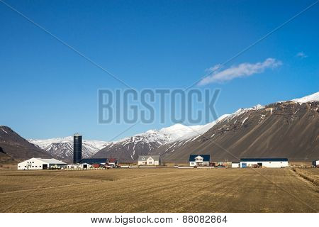 scenic farmland of southern Iceland; with background of snow-capped mountains and glaciers