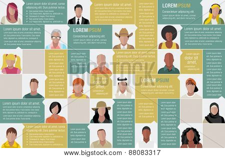Template for advertising brochure with large group of cartoon people faces