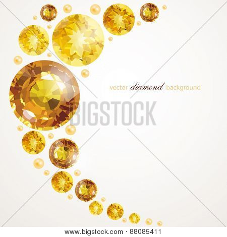 Abstract background with golden gemstones