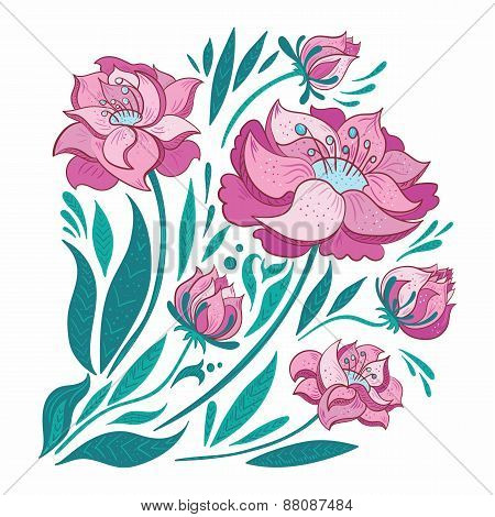 Pink Vector Flowers Set