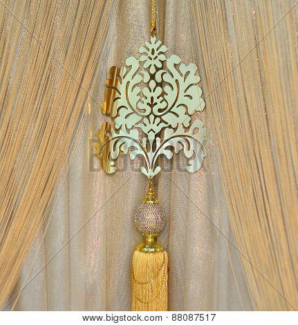 Golden curtains closeup